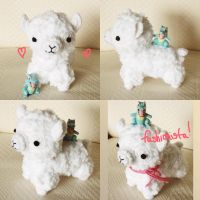 Kawaii amigurumi alpaca for trade by hellohappycrafts