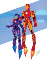 Iron Girl and Iron Man by channandeller
