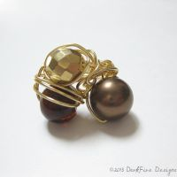 Gold and Brown Cocktail Ring by DarkFireRaven