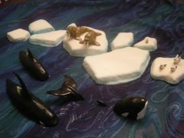 Table decor Orcas and walrus by The-EvIl-Plankton