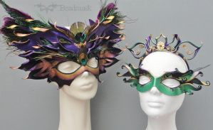 Oberon and Titania masks and crowns by Beadmask