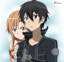 Kirito and Asuna by famishou