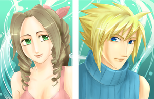 Lifestream-Cloud and Aerith by d00li