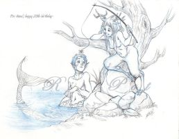 Satyr Girl Fishing a Merboy by Ricepot