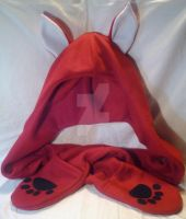 Commission: Red Fox Fleece Hood Scarf by mihijime
