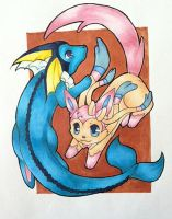 Sylveon and Vaporeon by czaria