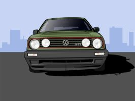VW Golf Mark 2 Toon by Knowleso