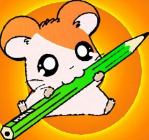 Cute Hamtaro And Pencil by hamsterfangirl