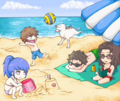 At the beach with team 8 by Kiwiggle