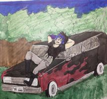 Pyro on his Hearse by AskScarMcSpark