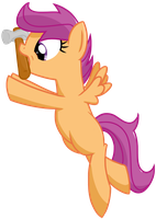 Scootaloo with a hammer by transparentpony