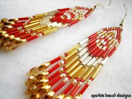 Red and Gold Earrings by Natalie526