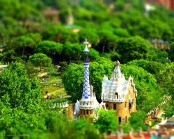 Park Guell - Barcelona in miniature Tiltshift by Cloudwhisperer67