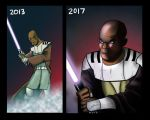 Mace Windu:2013 vs 2017 by Kyber02