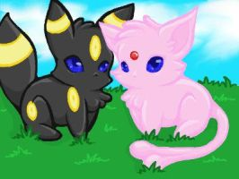 Espeon and Umbreon by ArgentLashana