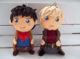 Arthur and Merlin keychains by sequinjar