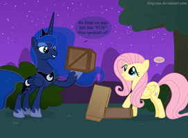Fluttershy and Luna suck at Tetris by DiegoTan