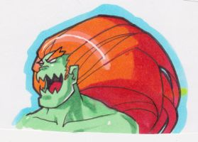 Street Fighter Blanka marker drawing by JoeOiii