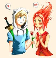 Finn and Flame Princess - Adventure Time by NinjaKimi