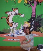 Calvin and Hobbes Mural by Violinagin