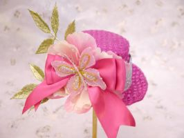 Pink Sparkle Floral Mini Top Hat by smallrinilady