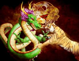 Tiger Vs Dragon by PPeerapat