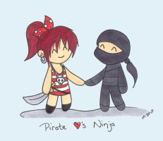 Pirate x Ninja by nagoyamonkey
