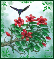 Hummingbird and flowers sketch by ghost-eye
