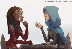 Human AU Ahsoka and Barriss by Raikoh-illust