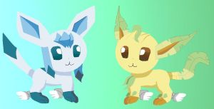 leafeon and glaceon by Kalinel