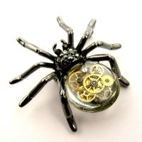 Steampunk resin spider brooch by SteamSect