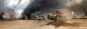 Tank Battle North Africa by HughEbdy
