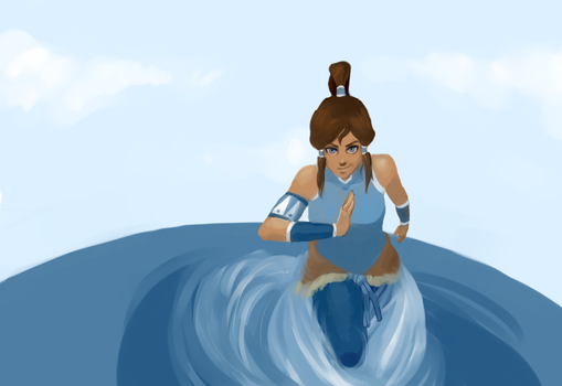 Korra riding a waterspout by indierobot