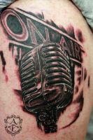 Radio On Air Mic Tattoo done by Sean Ambrose by seanspoison