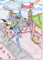 Penelope's moment paragliding with Sly by HeavensEngel