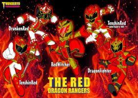 THE RED DRAGON RANGERS chibi ver. by thunderyo