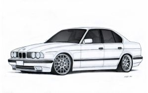 BMW 540i E34 Drawing by Vertualissimo