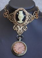 Victorian Pocket watch cameo necklace by Pinkabsinthe