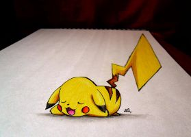 Pikachu - 3D SKETCH + COLOR by Iza-nagi