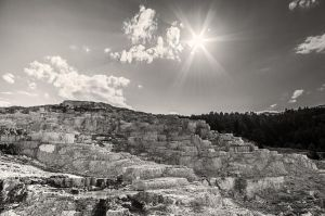 Mammoth Hot Springs - BW by JessicaDobbs