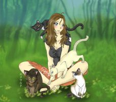 Commission: Adawn and her Cats by Emerarudo-chan