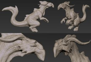 3D dragon sketch by Manweri