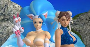 Felicia and Chun Li Fun in the Sun 1 by cablex452