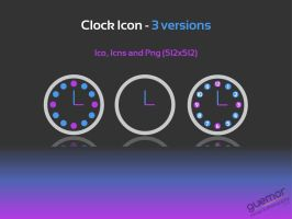 Clock Icon - 3 versions by guemor