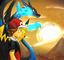 Red And Mega Charizard X by AnimatorMX