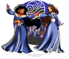 Jasmine and Katara crossover by selinmarsou
