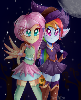 Witch and Fairy [+SPEEDPAINT] by Sweet-Pillow