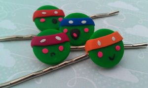 TMNT Kawaii Style Bobby Pins by Gynecology