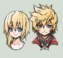 Roxas and Namine doodle by tickledpinky