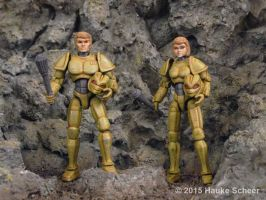 Male and female 3D printed androids no helmets by hauke3000